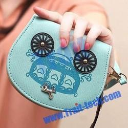 Lovely Zipper Wallet,Shell Style Carriage Pattern Clutch Zipper Key Chain Wallet PU Leather Handbags