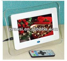 "7"" shenzhen digital photo frames support jpeg file and play video and photo"