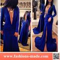 Mujeres azul profundo v-cuello de la sirena Maxi vestido de noche