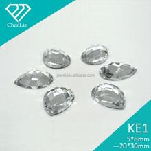 KE1 teardrop pear chess flat back sew on acrylic rhinestones for fashion decoration, craft making, garment bags accessories