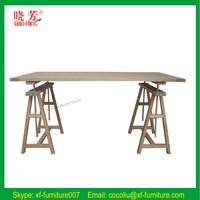 2015 Latest Farm style solid wood Trestle based dining table(RF1008)