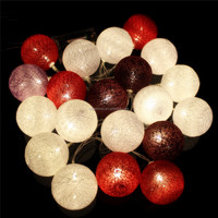 led christmas holiday party wedding decoration cotton colorful ball bettery solar fairy string cotton ball light