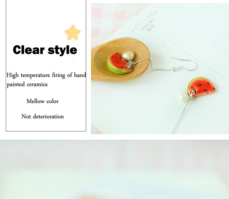 Inexpensive fruit shape ceramic wholesale customed handmade silver thread earrings