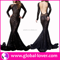 Best quality long sleeve backless elegant best lady gown
