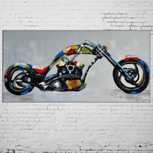 New Hand Painted Abstract Knife Picture Motorcycle Mural Car Oil Painting