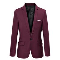 New Arrival Single Button Leisure Blazers Men Male 2015 Fashion Slim Fit Casual Suit Red Navy Blue Blazer plus size