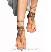 Women Body Jewelry Wedding Crochet Black Barefoot Sandals