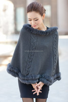 2015 new style Ladies' sexy boat neck sleeveless cloak knitted sweater with fur hem