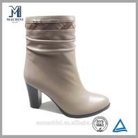 2015 low price ladies high heel rubber half boot