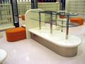 Shoe shop visor de vidro prateleiras gôndola bolsa exposição da loja gondola