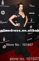 2012 Golden Globe Awards Cap Sleeves V Neck Black Lace Mermaid Celebrity Dress Evening Long EWL220