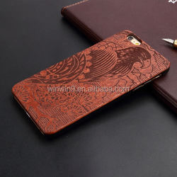 Wholesales Creative Cell Phone Case For Iphone 6 plus Laser carving ww wooden/bamboo phone cover