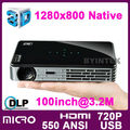 dlp obturador activo 3d 720p micro hdmi mini usb de bolsillo práctico proyector de tamaño pequeño