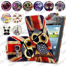 For Samsung Galaxy Fame S6810 Folio Print Flip Leather Case Phone Bag Back Cover Bags