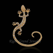 2015 Best Seller Gold & Silver Color Pave Diamond Gecko Shaped Sterling Silver Ear Cuff Wholesale