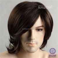 Good Quality 10Inch Men Glamorous 100% Kanekalon Synthetic Wig Fashion Pop Art Soft Wavy Hair Capless Cool Toupees Natural Wigs
