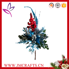 Artificial short stem Christmas glitter spray poinsettia flower pick with red berry