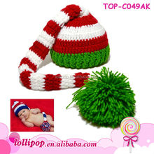 Charming stripes christmas wholesale crochet baby hat and diaper cover