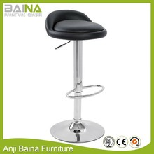 Anji factory direct swivel stool with leather seat and chrome base