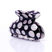 Large black and white korea hair claw spotty plastic round hair claw clip