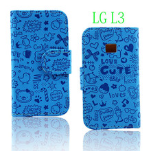 Flip leather cover for lg l3 e400 mobile phone accessory