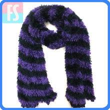 Striped taiwan magic scarf china,feather yarn knitted scarf