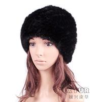 CX-C-118B Fashion Knitted Women Winter Real Mink Fur Hat