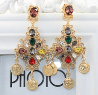 2015 new Fashion Europe Tassel pendant coins earrings queen metal portrait hollow gold diamond flower exaggerated earrings