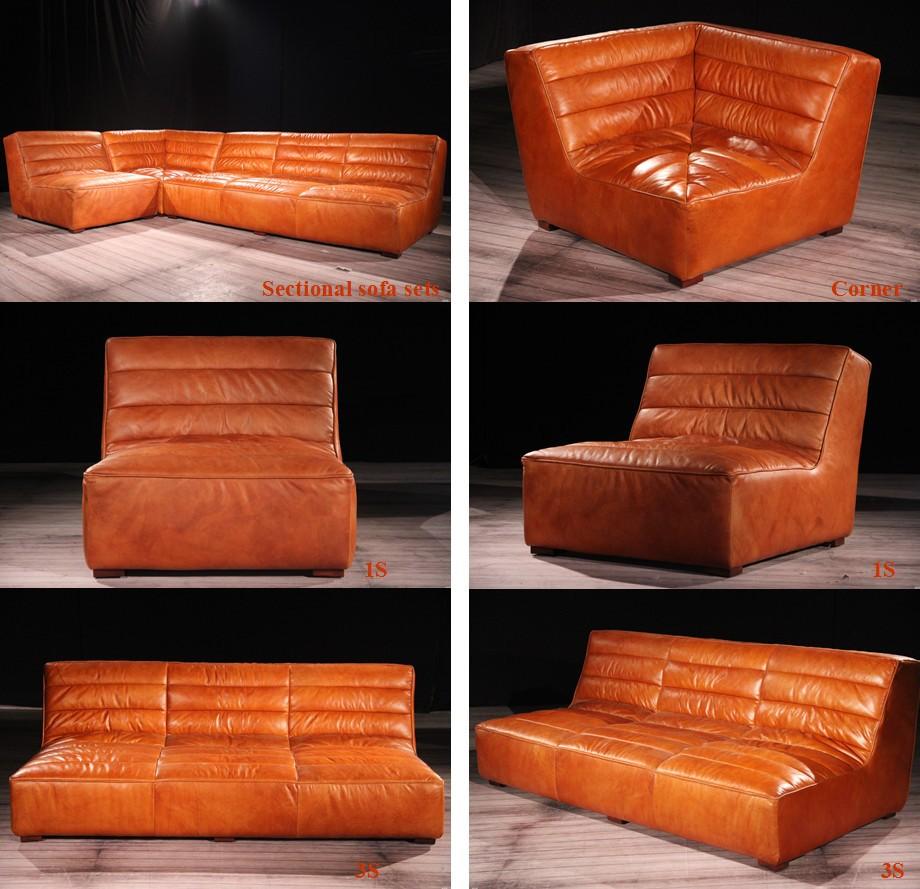 Rustique vintage retro coupe canap en cuir v ritable ensembles lots de meub - Canape cuir rustique ...