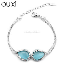 OUXI Factory price fashion opals stone bracelet made with Austrial crystal 30273-2
