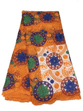 HOT SALE, HAVE STOCK!High quality nigerian Guipure Lace Fabric /African cord lace fabric/chemical lace/GPH84-4 ORANGE+GREEN+BLUE