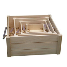 Large wood fruit vegetable packaging trays with slots and strings
