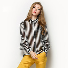 Women's Long Sleeve Stripes Chiffon Turn-down Collar Slim Blouses OEM Type Manufacturer From Guangzhou