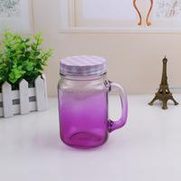 Cheap hot selling colorful glass mug jar / mason jar with handle
