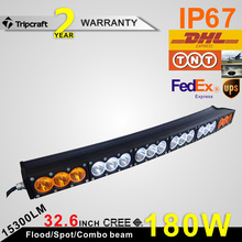 32.6 Inch 180W IP68 LED Work Light Bar Spot Flood Combo 4X4 Truck SUV Boat Lamp Curved Offroad Led Light Bar with amber&white
