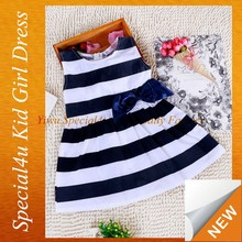 Blue and white stripe big bow kids fashion dresses pictures SFUBD-933