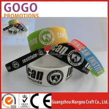 Debossed Logo Silicon Wristband, Customized Silicone Bracelet for Promotional Gift, Ink Filled Colour, 202x12x2mm, MOQ: 100PCS