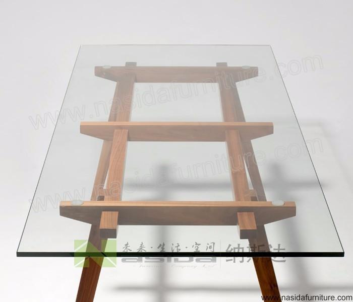 tl057 현대적인 단단한 나무 다리와 유리 식탁-목재 테이블 -상품 ...