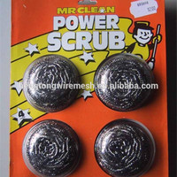 Iron scrubber/galvanized mesh scourer 4pcs 12pcs with mesh bag paper card