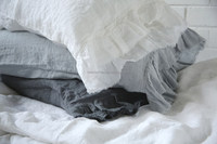 Enzyme stone washed French flax 100% linen bedding set pillowcase frilled