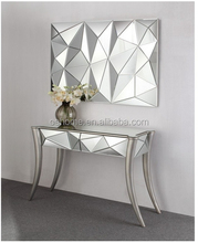 Bright design silver leaf curved legs mirrored console table