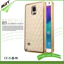 For Samsung Galaxy note 4 N9100 N91089 metal frame and PU leather cell phone case for samsung note 4 cover