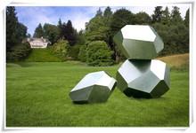 Modern Stainless Steel Abstract Stone Shape Sculpture Garden Decoration