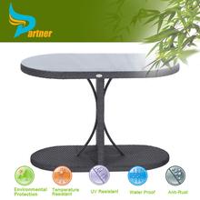 Leisure Ways Industrial Rlliptical Rattan Bar Height Outdoor Table Leg