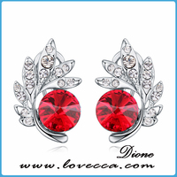 Crystal 18k white gold plate many colors and sizes earring deep red earrings crystals