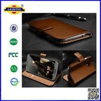 Luxury Genuine Real Leather for Nokia Lumia 735 Wallet Flip Cover, Magnetic Book Design Folio Mobile Phone Case Laudtec