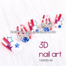 Decorated 3D Diamond false nail UK Flag Nail art Tips