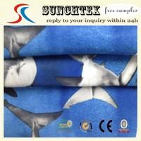 plain micro peach shark printed fabric