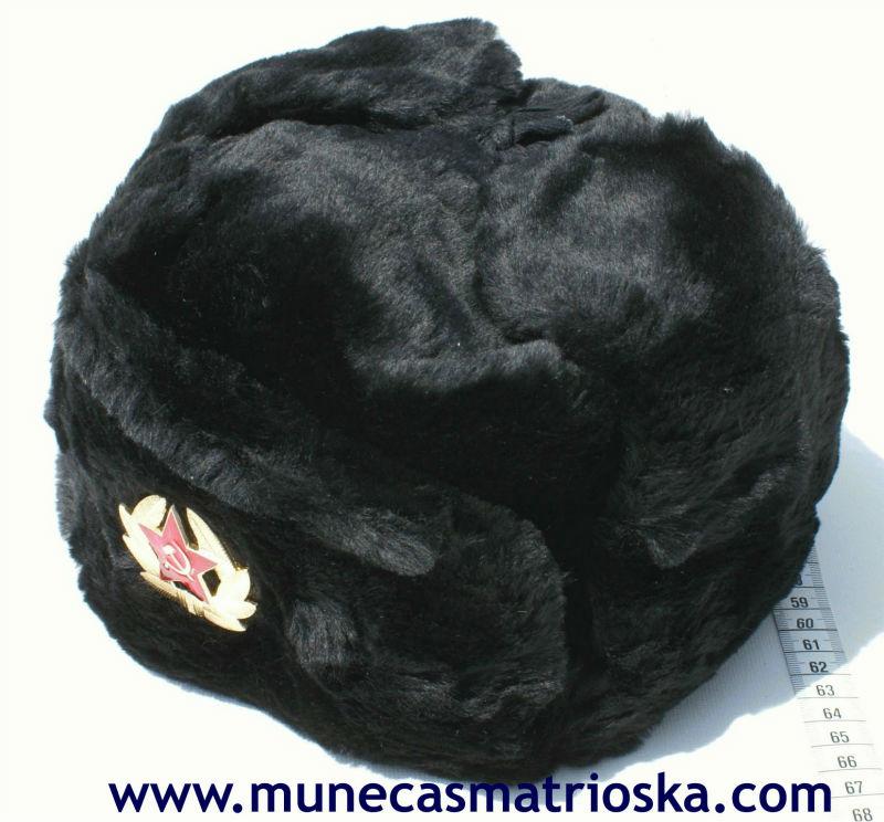 Gorro ruso negro ushanka tradicional de Rusia para invierno, comprar gorras online de talla 60 o 62
