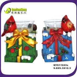 resin gift box with bird standing on resin gift box/christmas decoration